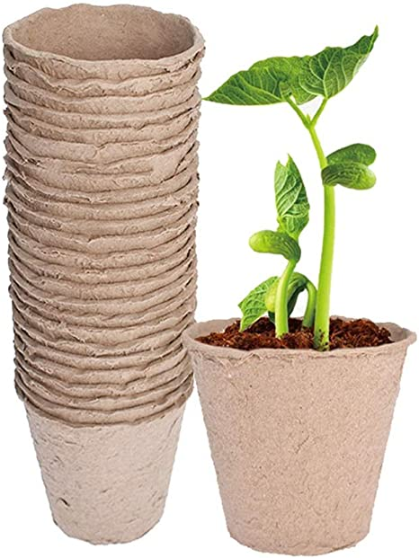 50 Pcs Round Biodegradable Paper Pulp Peat Pots Plant Nursery Cup Tray Garden