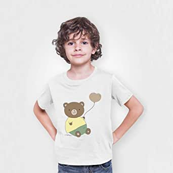 Printed Cotton T-shirt for Boys, Size 36 eU, White