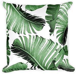 Banana Leaf Tropical Throw Pillow Cover Art Tropical Leaf Vintage Rustic Farmhouse Cushion Cover Tropical Decor Beachhouse Decor Banana Leaf Art Leaf Pillow Case for Kids Boy Girl Room Decor