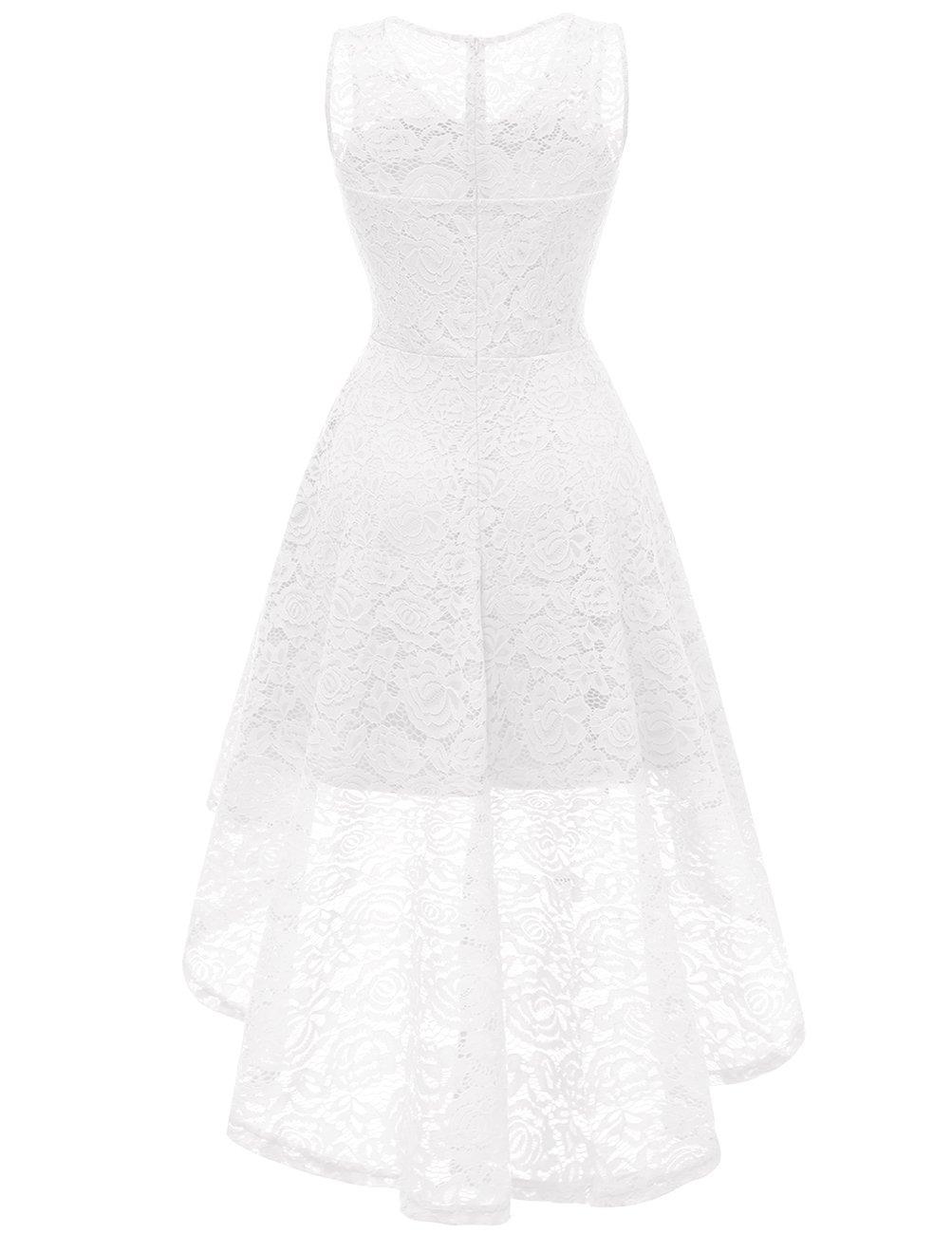 DRESSTELLS Women's Cocktail V-Neck Dress Floral Lace Hi-Lo Formal Swing Party Dress White XL by DRESSTELLS (Image #3)