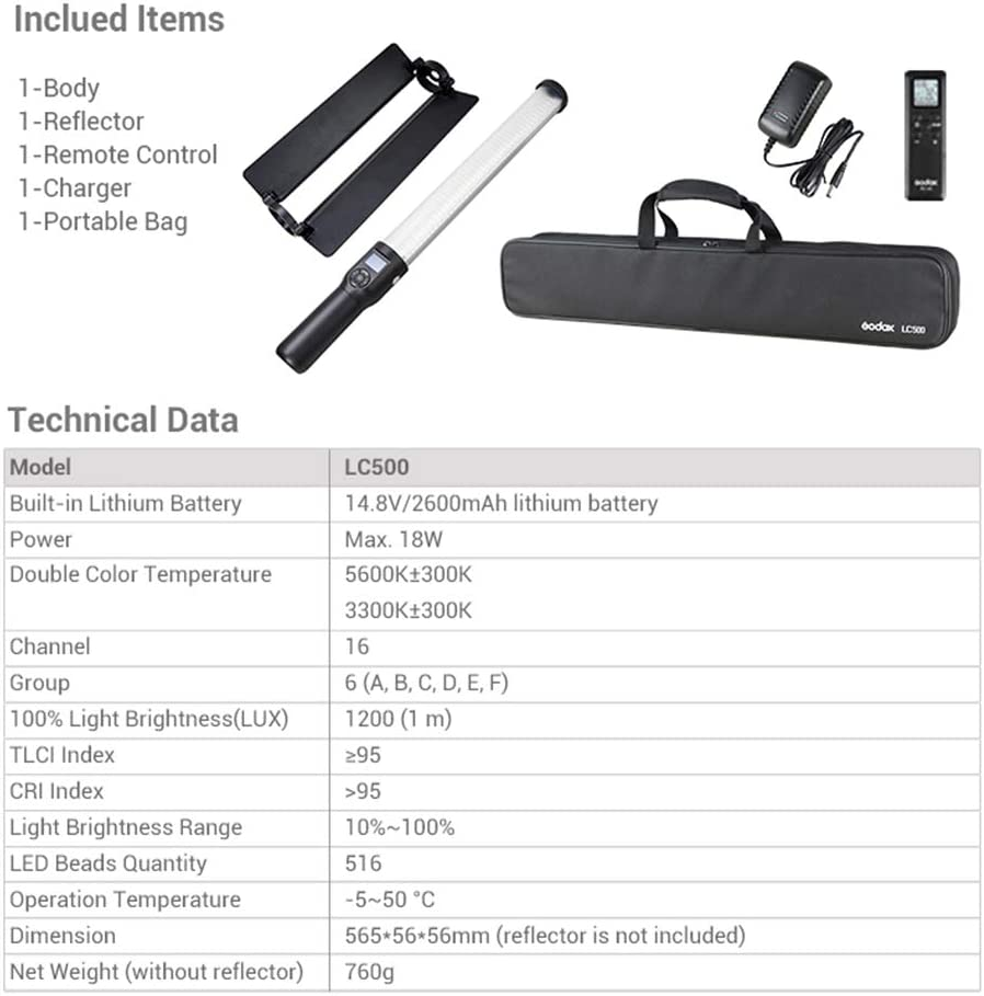 AC Power Ladeger/ät Godox LC500 3300 K-5600 K verstellbarer Handle-Lichtstick integrierter Akku Tragetasche mit Fernbedienung
