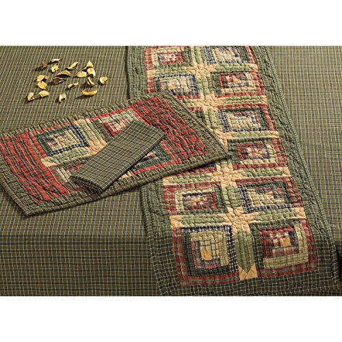 VHC Brands 10747 Rustic & Lodge Tabletop & Kitchen - Tea Cabin Green Quilted Runner, 13