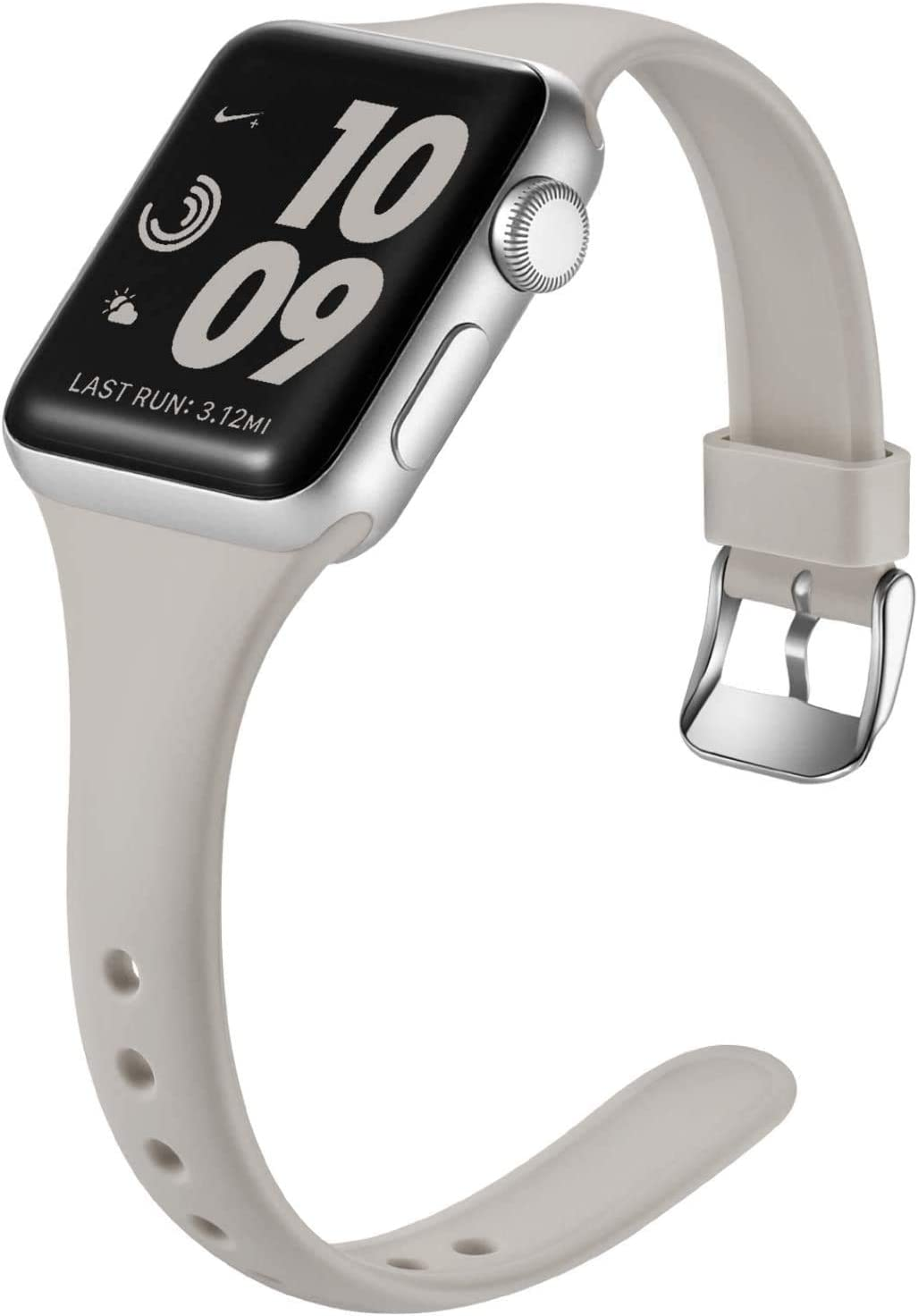 Laffav Slim Band Compatible with Apple Watch 40mm 38mm for Women Men, Soft Silicone Narrow Thin Sport Replacement Strap for iWatch SE & Series 6 & Series 5 4 3 2 1 (Pebble Gray, 38mm/40mm S/M)