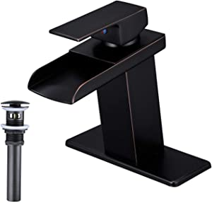 Bathfinesse Bathroom Sink Faucet Single Handle One Hole Waterfall Spout Lavatory Deck Mount Oil Rubbed Bronze With Pop up Drain with Overflow
