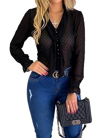 1464b3d4 Women Chiffon Dot Tops Ruffle Flare Sleeve Tie T-Shirts Sheer Block Color  Sexy Blouses
