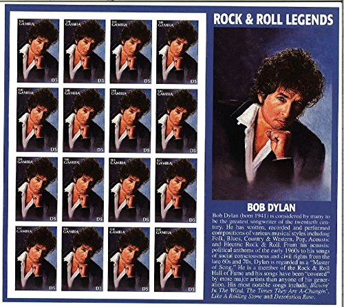 Gambia Post Bob Dylan Rock & Roll Legends Collectible Stamp Sheet of 16 ()