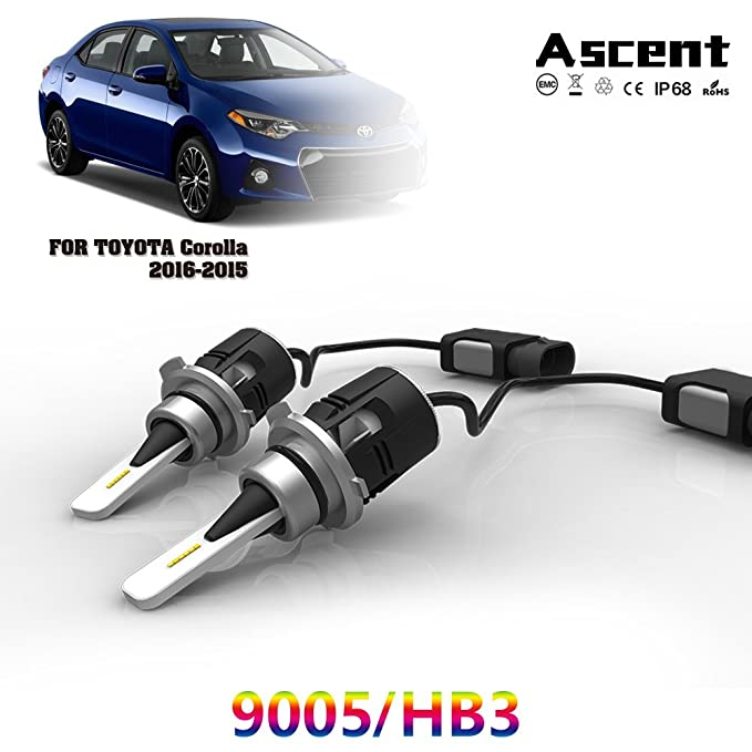 Amazon.com: 2PCS 9005/HB3 LED Headlight Kit Bulbs High Beam For Toyota Corolla 2016-2015: Automotive
