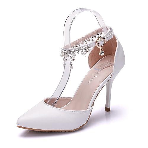 Mujer zapatos pu primavera otoño confort zapatos de boda tacón stiletto  dedo puntiagudo pedrería perla hebilla 6f54c6647f02