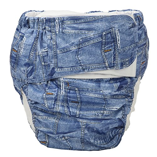Sigzagor Teen Adult Cloth Diaper Nappy Reusable Washable For Disability Incontinence Hook and Loop (Denim (Large 26in to 50in))
