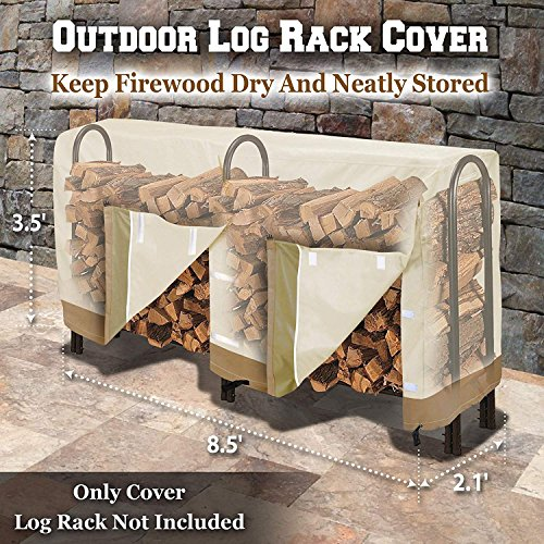 Premium Large Size Log Rack Cover Benefit Firewood Rack Wood Storage Waterproof Holder Cover (Size 8.5' L x 2.1' x 3.5' H)
