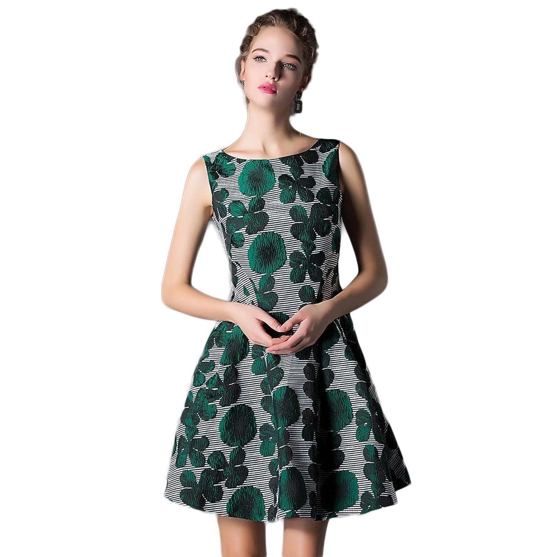 WintCO Damen Elegant Jacquard Minikleid Sticken Kleid Cocktailkleid Rundausschnitt Kleider