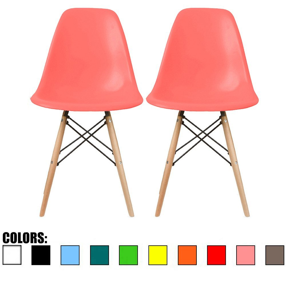 amazon com 2xhome set of two 2 pink eames side chair eames amazon com 2xhome set of two 2 pink eames side chair eames chair pink seat natural wood wooden legs eiffel dining room chairs no arm arms armless