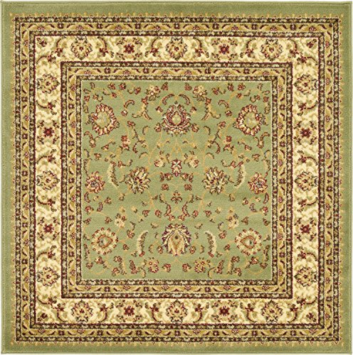 Unique Loom Voyage Collection Traditional Oriental Classic Green Square Rug (4' x 4') (Square Green Shag Rug)