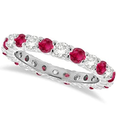 7f2955969ba 14k Gold 1.07ct Eternity Diamond and Ruby Ring Anniversary Band For Women  G-H SI Natural