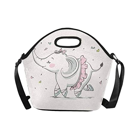 ce8341b1fca6 Amazon.com: InterestPrint Lunch Tote Bag Cute Elephant Ballerina ...