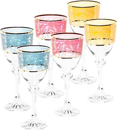 Italian Collection Crystal 10 Oz Julia Multi Colored Wine Goblet Glasses 24k Gold Rim Vintage Luxury Pattern Wine Glasses