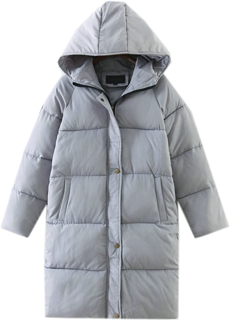 Ffox Womens Oversize Outdoor Hoodies Mid-Length Thicker Padded Jackets