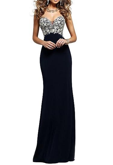 Amazon Special Bridal Black Strapless Lace Applique Heavy