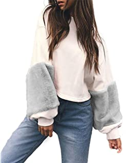 06ab812214 Adelina Ladies Faux Fur Patchwork Loose Tops Sweatshirts Tops Long Round  Sleeve Outdoor Neck Pullover Sweater…