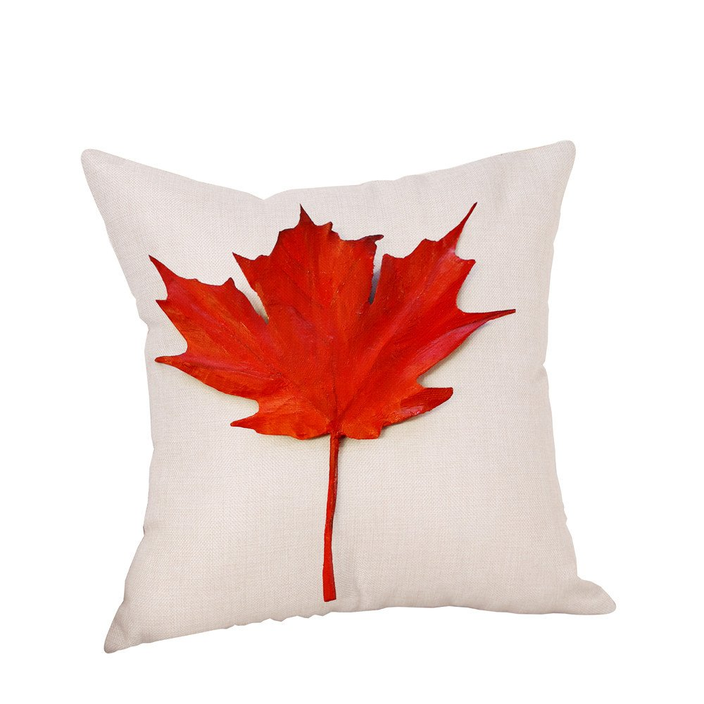 Pgojuni Happy Thanksgiving Maple Leaf Printing Linen Throw Pillow Cover Cushion Cover Square Pillow Case for Sofa/Couch Home Decor 1pc (45cm X 45cm) (H)