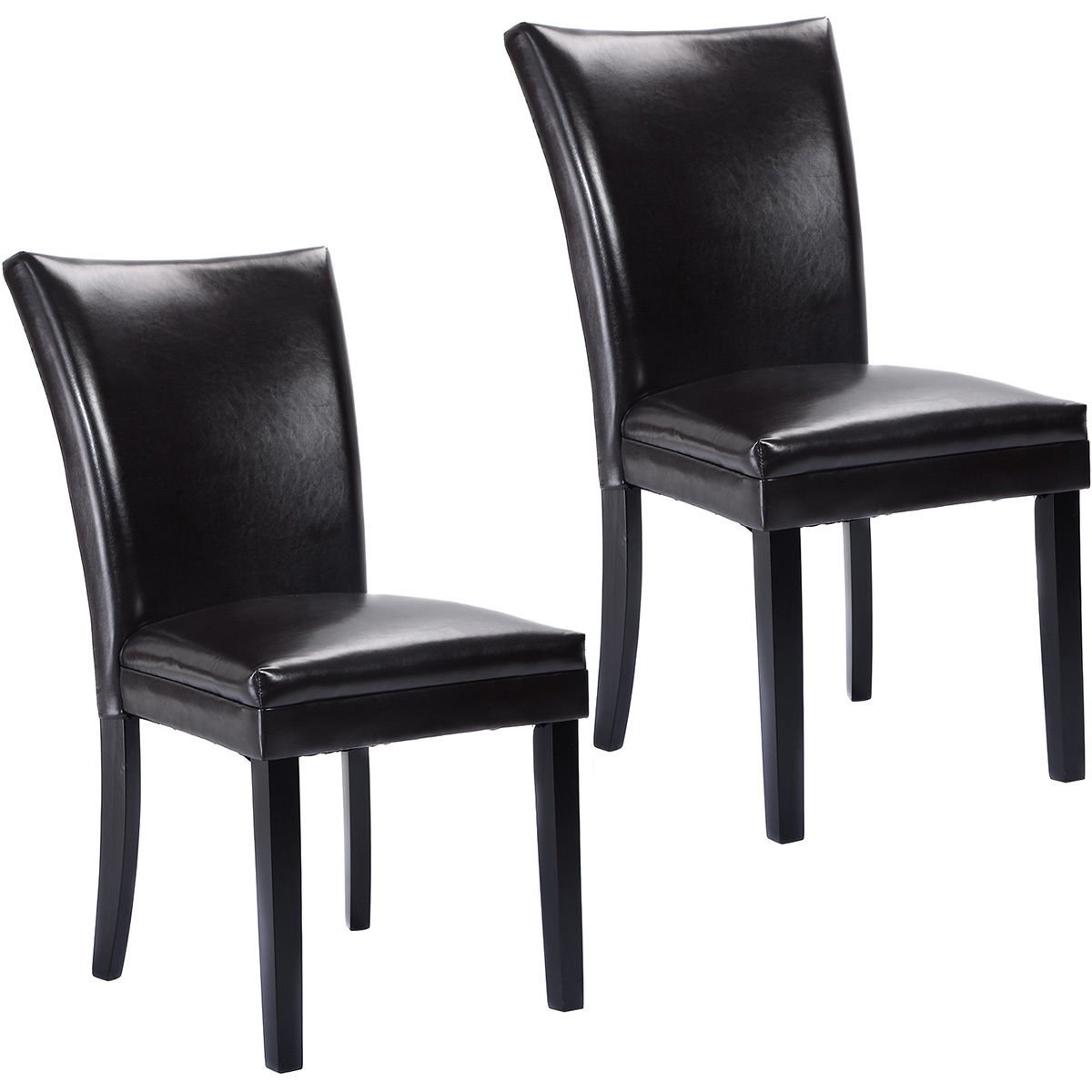 AK Energy 2pc Dark Brown Elegant Design PU Leather Accent Guest Reception Chairs Modern Home Office Furniture