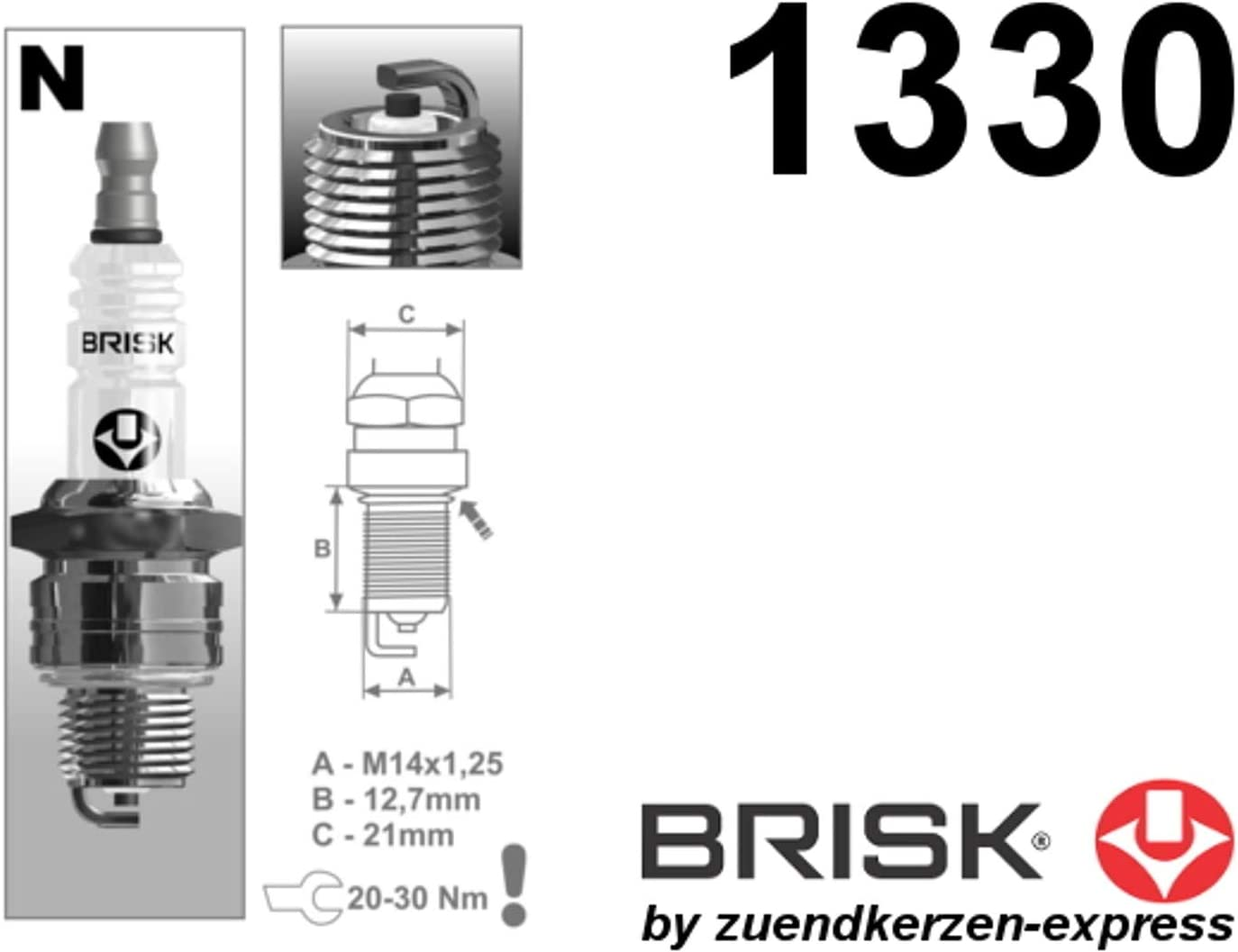 4 St/ück Brisk Super N15C 1330 Z/ündkerzen