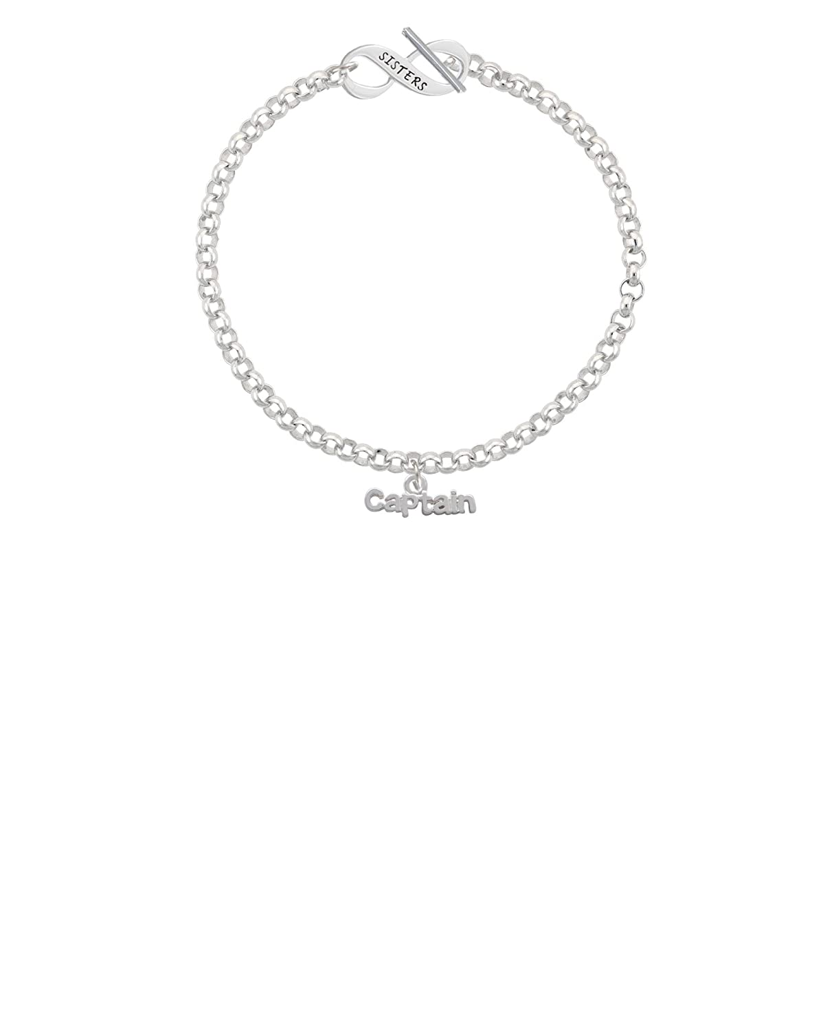 8 Silvertone Captain Sisters Infinity Toggle Chain Bracelet
