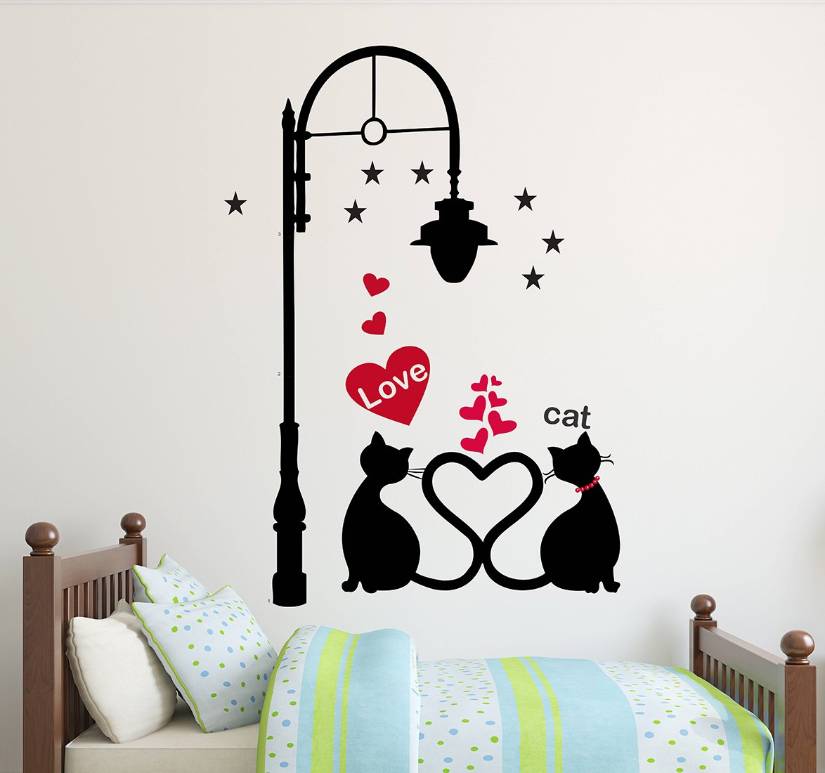 Luke and Lilly Love And Cat Design Vinyl Wall Sticker (60*85