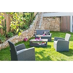greenazur–salón de jardín greenazur acero tratado epoxi resina trenzada 4plazas–Blue Stone–141451-bluestone