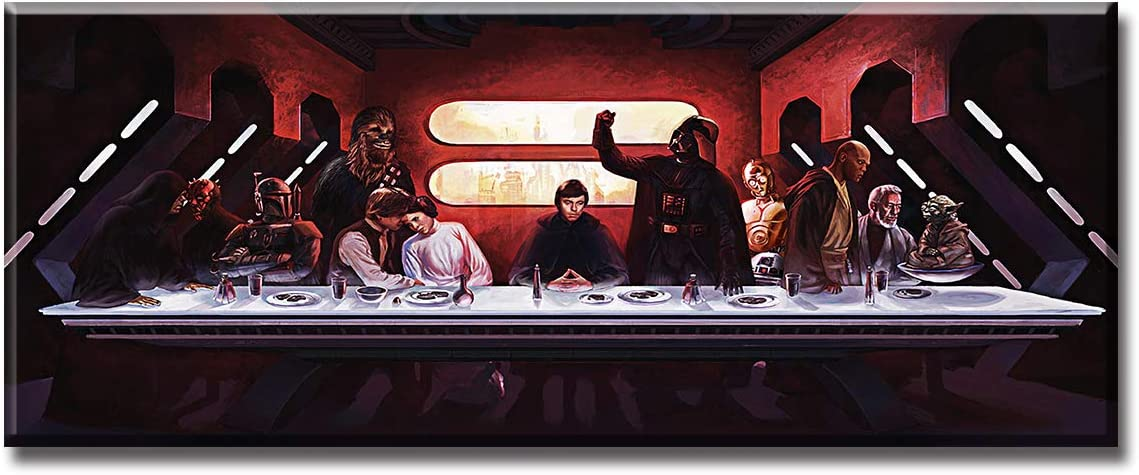 """DJSYLIFE Star Wars Canvas Wall Art The Last Supper Black and Red Decor Movie Poster Modern Artwork Decoration 1 Piece Painting Prints on Livingroom Diningroom 20""""W x 8""""H Stretched Framed Ready to Hang"""