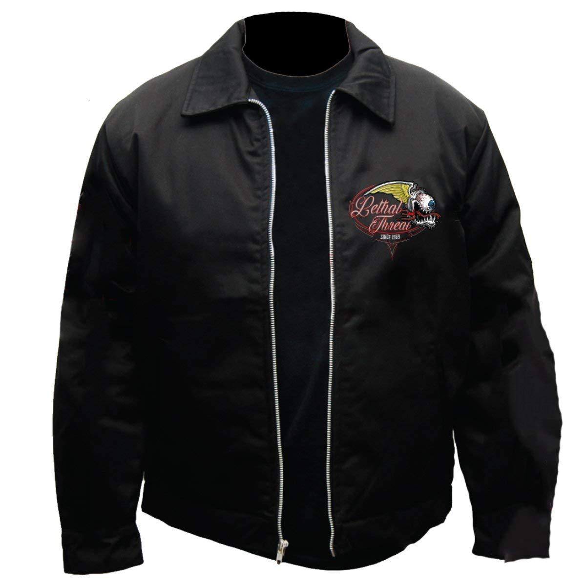 153ee4fa Men's Custom Embroidered Mechanic Jacket No Regrets Flying Eyeball Graphics  at Amazon Men's Clothing store: