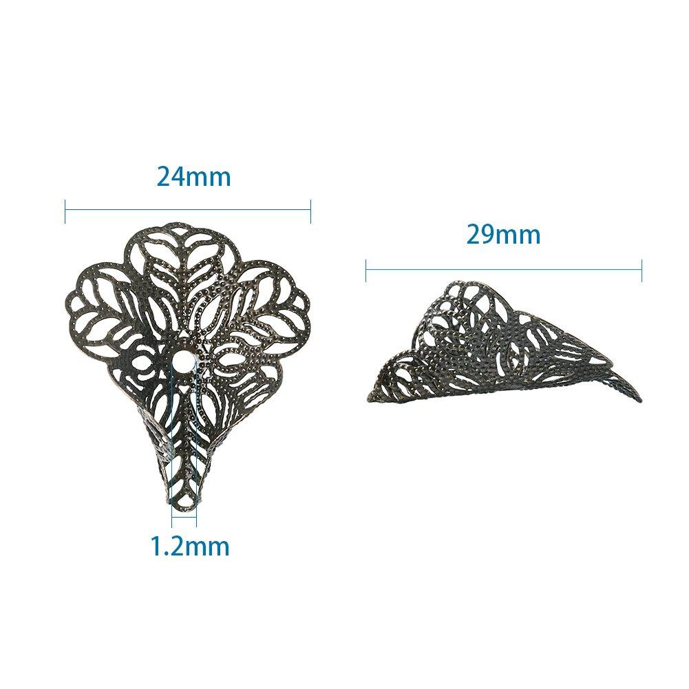 Pandahall 100-Piece 29x24mm Hole 17gauge Silver 3-Petal Flower Bead Caps Filigree for Large Hole Beads DIY Jewelry Making