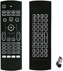 Backlit Gyro Air Remote Mouse Mini Keyboard Remote Control, 2.4GHz Wireless Home Media Compact Keyboard Remote for Mac Mini,Windows XP 7 10 PC,Android TV Box,KD Box,Raspberry Pi 4B 3,HTPC,Laptop