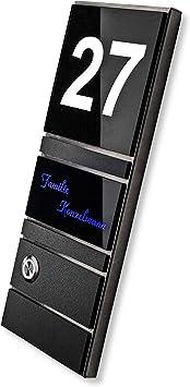 Gravure DEL Sonnette anthracite en acier inoxydable sonnerie plaque porte sonnette sonnerie