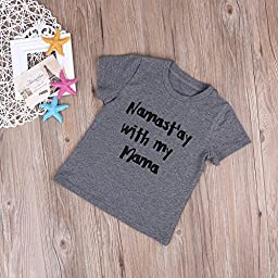 Unisex Baby Kids Summer Short Sleeve Letters Print T-shirt Tops (2-3 Years)