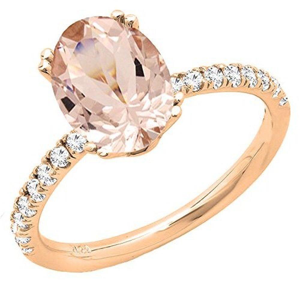 14K Rose Gold 8X6 MM Oval Morganite & Round Diamond Bridal Bridal Engagement Ring (Size 6)