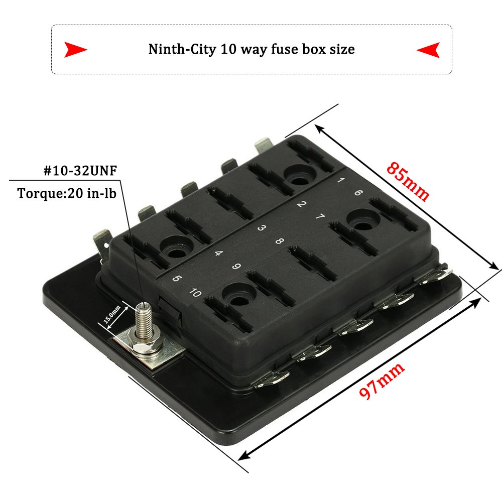 Amazon.com: Ninth-City 10 Circuit LED Fuse Block and Cover Kit Car Van Boat  Marine 10 Way Blade Fuse Box Holder Block with Cover + 10 Blade Fuse  12V/24V: ...