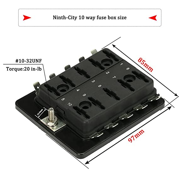 amazon com: ninth-city 10 circuit led fuse block and cover kit car van boat  marine 10 way blade fuse box holder block with cover + 10 blade fuse  12v/24v:
