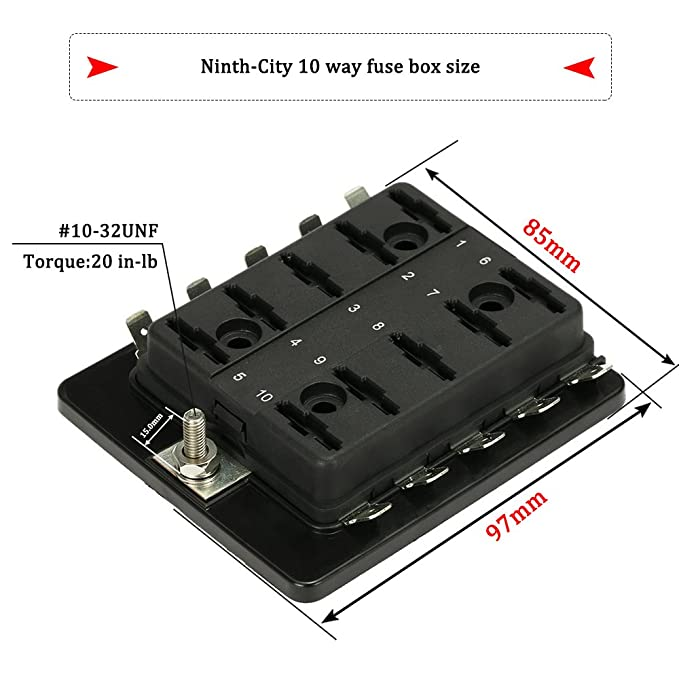 amazon com ninth city 10 circuit led fuse block and cover kit car 10 way blade fuse block with led indicators amazon com ninth city 10 circuit led fuse block and cover kit car van boat marine 10 way blade fuse box holder block with cover 10 blade fuse 12v 24v