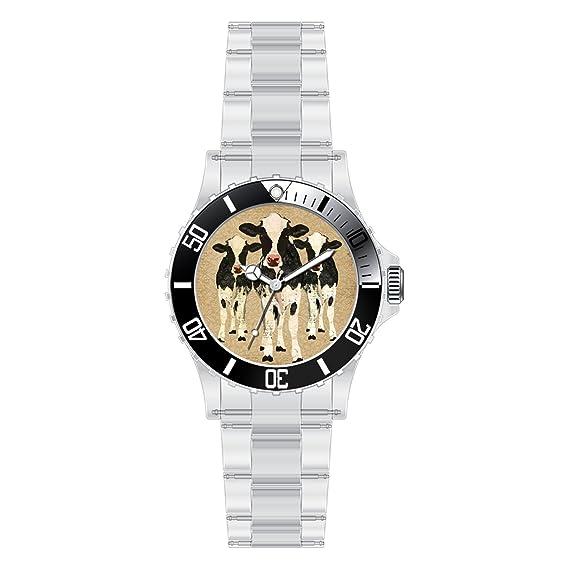 TYHJ Custom único relojes moda banda de acero inoxidable reloj (vacas reloj: Amazon.es: Relojes