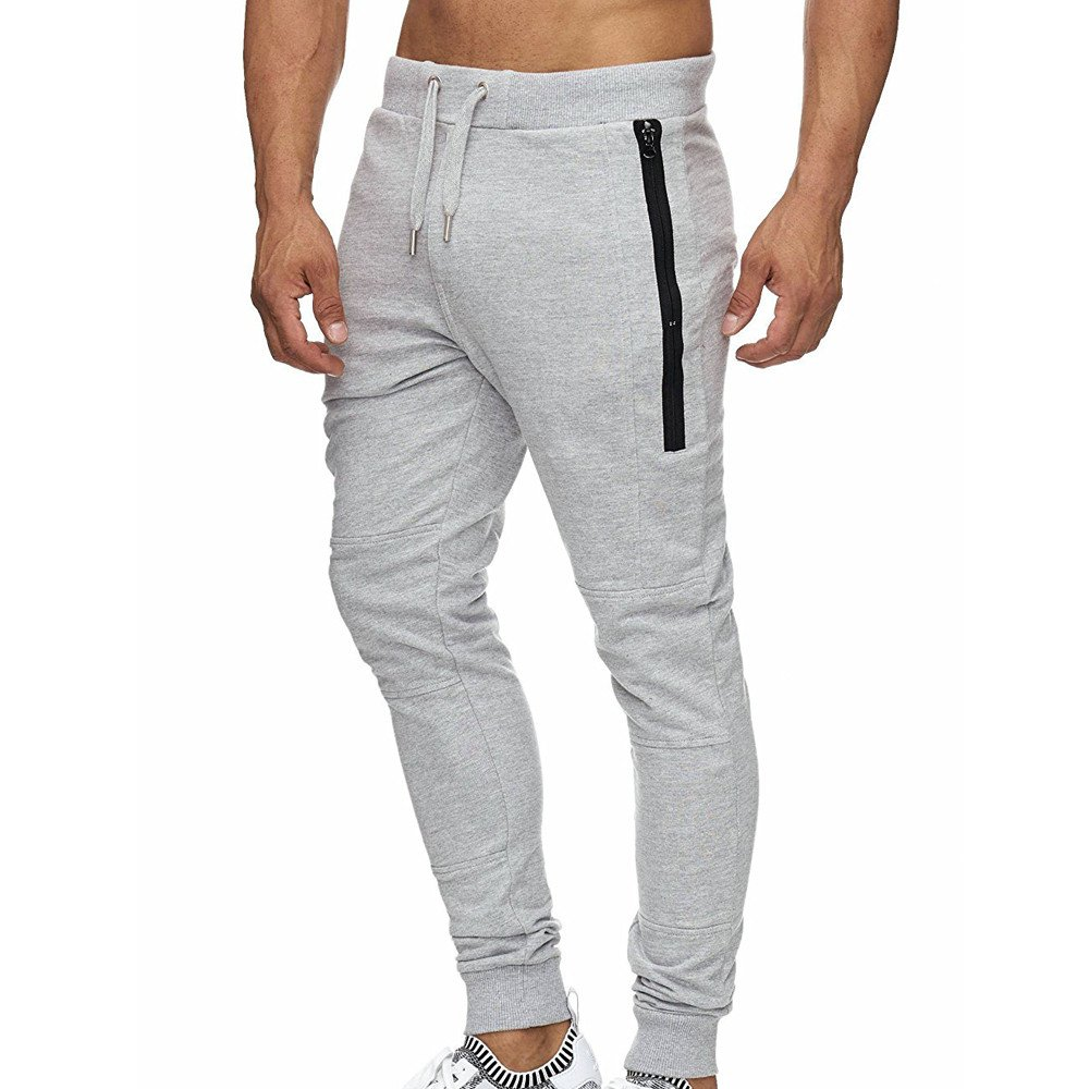 Shybuy Men's Casual Pure Color Athletic Running Sport Jogger Low Waist Pants with Zipper Pockets (Gray, M)