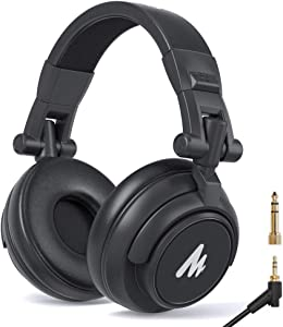 50MM Drivers Studio Headphones MAONO AU-MH601 Over Ear Stereo Monitor Closed Back Headphones for Music, DJ, Podcast (Black)