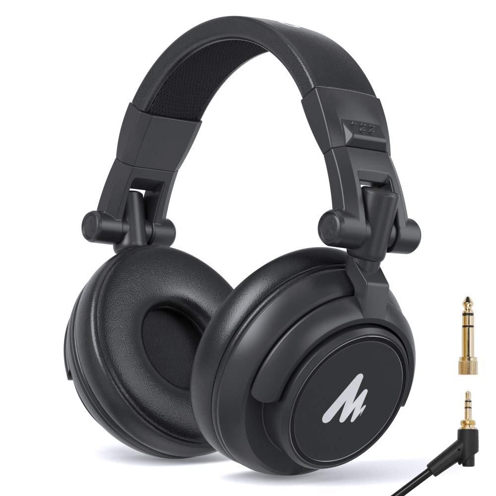 50MM Drivers Studio Headphones MAONO AU-MH601 Over Ear Stereo Monitor Closed Back Headphones for Music, DJ, Podcast (Black)
