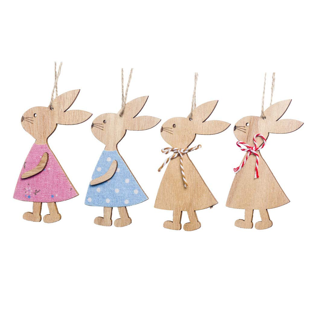♚Rendodon♚ Easter, Easter Decoration Gift, Easter Decoration Pendant 4, Easter Day Bunny Exquisite Premium Wooden Pendant Hanging Decoration (As Shown)