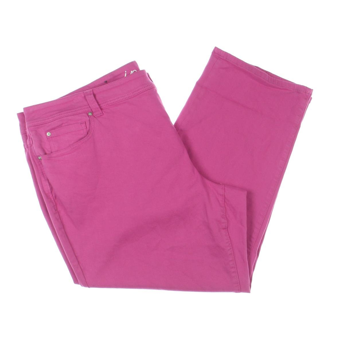 INC Womens Plus Colored Slim Tech Fit Cropped Jeans Pink 22W