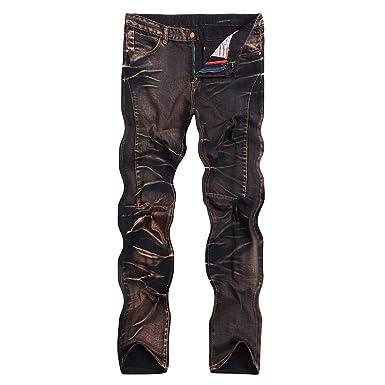 46a1e186a321 Jeans pour Hommes Pantalon Mi Droite Coupe Denem Style Simple Taille  Moyenne Pantalon Denim Streetwear Pantalon