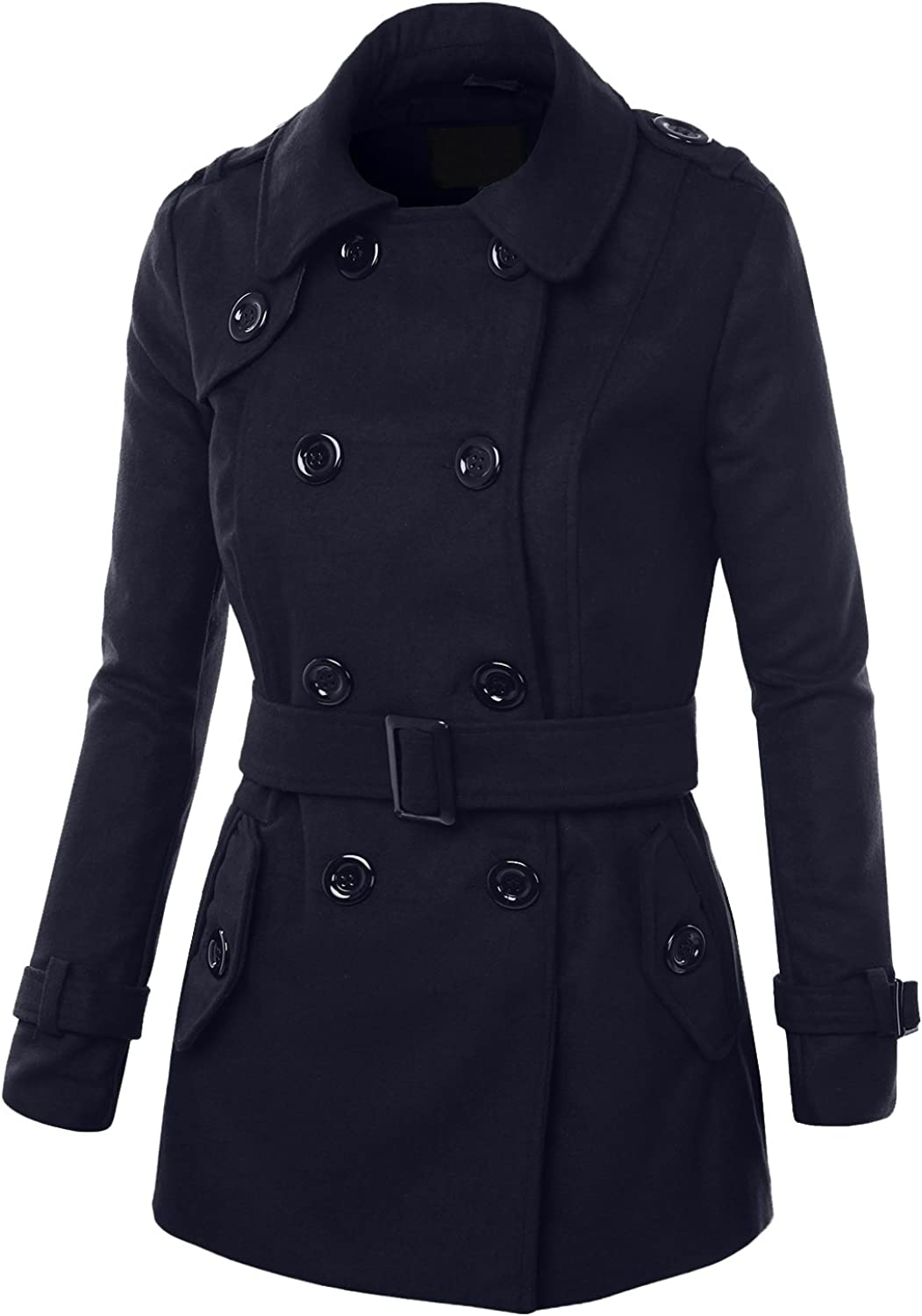 Womens Coat Curve Double Breasted Belted Coat 4 Button 2 Pocket Collared Jacket
