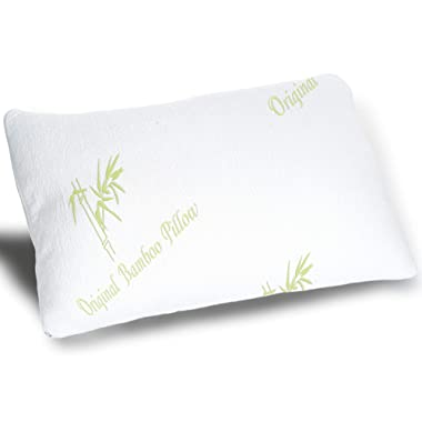 Cooling Bamboo Pillow - Adjustable for Back Side and Stomach Sleeper - Real Original Bamboo Medium Cool Shredded Memory Foam Bed Pillows for Sleeping with Natural Hypoallergenic Cover Standard / Queen