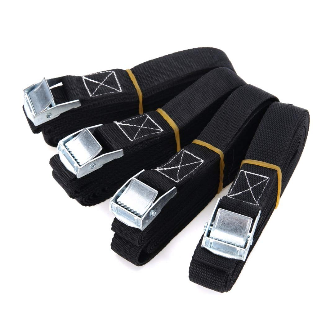 4pcs Cargo Tie Mayitr Porable Heavy Duty Tie Down Cargo Strap Luggage Lashing Strong Ratchet Belt With Metal Buckle 2.5x500cm