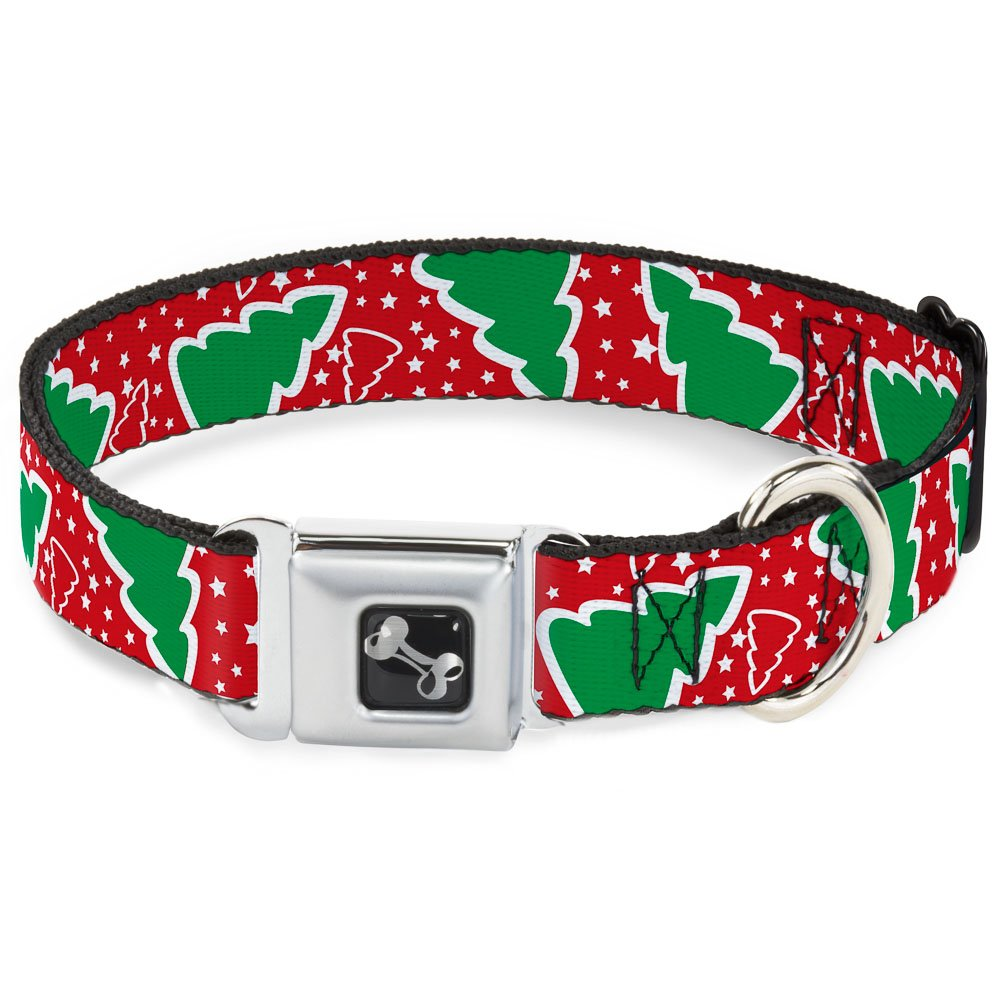 Buckle-Down 13-18  Christmas Trees Stars Red White Green Dog Collar Bone, Wide Small